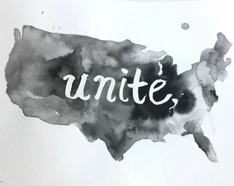 "Watercolor Unite Painting ""The Time is Now"" by Jess Buhman, 11"" x 14"", United States Painting, Healing Painting, Racial Injustice Art"