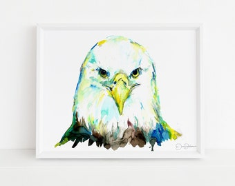 "Eagle Watercolor Print | ""Eagle Eye"" by Jess Buhman, Multiple Sizes, Wall Art, Home Decor, Bird Painting, Choose Your Size"