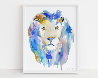 "Lion Watercolor Print | ""In Like a Lion"" by Jess Buhman, Select Your Size, Multiple Sizes, Nursery Painting, Zoo Animal Art, Abstract Art"