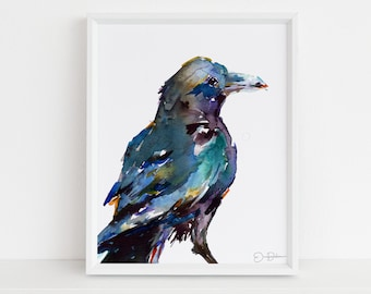 "Raven Watercolor Print |""Raven"" by Jess Buhman, Multiple Sizes, Select Your Size, Bird Painting, Wall Art, Home Decor"