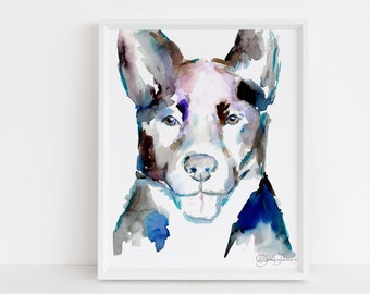 """Border Collie Watercolor Print Instant Download   """"Ava"""" by Jess Buhman, 8"""" x 10"""" Digital File, Print at Home, Dog Lover Gift"""