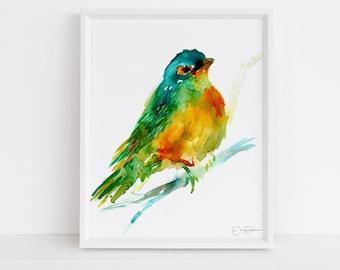 "Watercolor Bird Instant Download     ""Cooper the Green Bird by Jess Buhman, Printable 8"" x 10"" Watercolor Art, Digital Print, Print at Home"