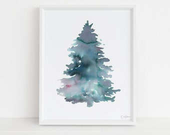 "Pine Tree Watercolor Print | ""Pine"" by Jess Buhman, Multiple Sizes, Select Your Size, Wall Art, Tree Painting, Christmas Decor"
