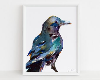 "Raven Watercolor Print Instant Download |  ""Raven"" by Jess Buhman, Digital Download, Print Yourself, Bird Painting, Wall Art, Home Decor"