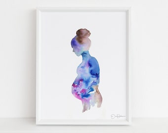 "Pregnancy Art Print | ""Woman in Bloom"" by Jess Buhman, Multiple Sizes, Motherhood Painting, New Mom Art, Print of Pregnant Woman"