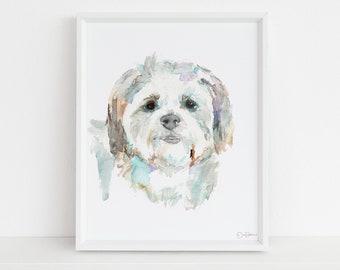 "Maltese Watercolor Print Instant Download | ""Maltese"" by Jess Buhman, 8"" x 10"" Digital File, Print at Home, Dog Lover Gift, Shih Tzu Art"