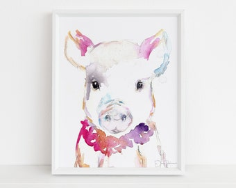 "Pig Watercolor Print |  ""Petunia the Pig"" by Jess Buhman, Multiple Sizes, Select Your Size, Watercolor Animal, Nursery Art"