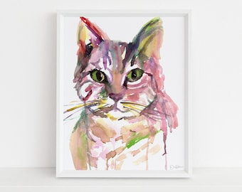 """Tabby Cat Watercolor Print 