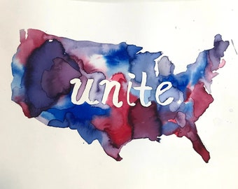 "Watercolor Unite Painting ""United We Stand"" by Jess Buhman, 11"" x 14"", United States Painting, Healing Painting, Hope Painting"