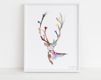 """Deer Watercolor Print 