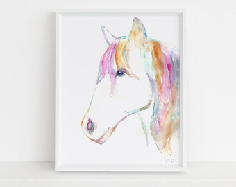 """Horse Watercolor Print Instant Download   """"Petey the Horse"""" by Jess Buhman, 8"""" x 10"""" Digital File, Print at Home"""