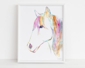 """Horse Watercolor Print, """"Petey the Horse"""" by Jess Buhman, Multiple Sizes, Select Your Size"""