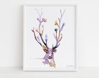 "Deer Print Instant Download | ""Buck Up"" by Jess Buhman, Print at Home, Digital File, Watercolor Deer Print, Christmas Decor"