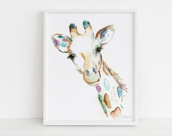 "Watercolor Giraffe Print | ""Joshua the Giraffe"" by Jess Buhman, Multiple Sizes, Select Your Size"