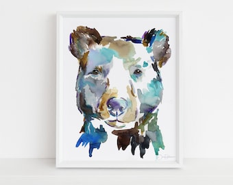 "Black Bear Watercolor Digital Download | ""Black Bear"" by Jess Buhman, Instant Download, Print at Home, Bear Painting, Nursery Art"