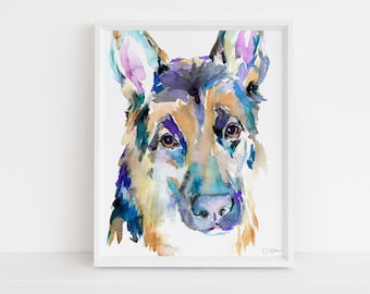 "German Shepherd Watercolor Print | ""German Shepherd"" by Jess Buhman, Multiple Sizes, Choose Your Size, Dog Watercolor, Abstract Dog Painting"