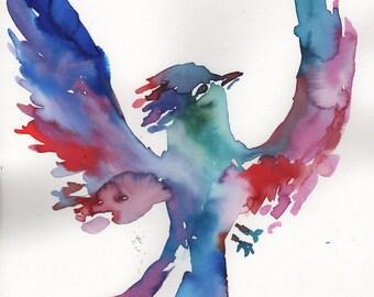 "Original Watercolor Phoenix Painting, Titled: ""Fawkes"" by Jessica Buhman 9"" x 2"" Original Bird Painting, Phoenix Art, Motivation Art"