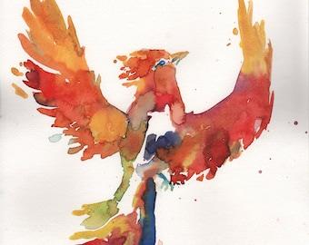 "Original Watercolor Phoenix Painting,""Out of the Dust"" by Jessica Buhman 11"" x 14"" Original Bird Painting, Phoenix Art, Motivation Art"