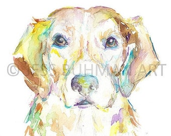 """ON SALE Print of Watercolor Painting """"Bella"""" 8 x 10 Pet Dog Painting Golden Retriever Dog Painting"""