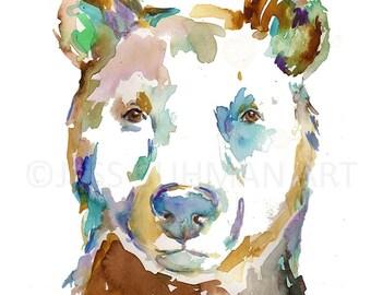 "Bear Bear Painting ""Winston the Bear"" Watercolor Print of Bear, Nursery Art, Woodland Art, Woodland Painting, Nursery Watercolor"