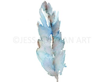 """Print of Original Watercolor Painting, Titled: """"Feather"""" by Jessica Buhman 8 x 10 Abstract Feather, Bird Art, Blue Feather Painting"""