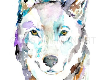 """Wolf Painting Print, """"Wolf Like Me"""" by Jess Buhman, Multiple Sizes, Select Your Size, Watercolor Wolf Print, Woodland Decor, Colorful Wolf"""