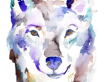 Wolf Watercolor Painting, Wolf Print, Nursery Art, Woodland Art, Watercolor Wolf Print, 8 x 10 Print, Animal Art, Animal Painting, Fine Art