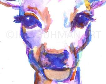 Valentina Deer Watercolor Painting Print, Deer Watercolor Painting, Flowers Watercolor, Deer Painting, Nursery Art, Nursery Watercolor