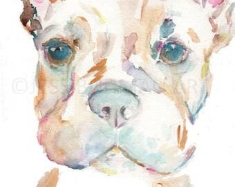 French Bulldog Watercolor Print, Dog Watercolor Painting, Print of Bulldog, Dog Painting, Abstract Dog Watercolor, Print of Dog