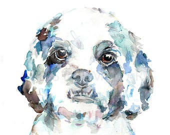 Dog Watercolor Painting, Terrier Watercolor Painting, Maltese Art, Dog Painting, Dog Portrait, Pet Painting, Dog Illustration, Dog Art