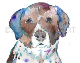 """Dog Watercolor Print, """"Scout"""" by Jess Buhman, Multiple Sizes, Select Your Size, Watercolor Dog Print, Lab Painting"""