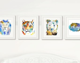 Lions, Tigers, and Bears, Oh My! Set of 4 Watercolor Prints, Nursery Art, Watercolor Nursery Prints, Animal Paintings, Animal Art, Print Set