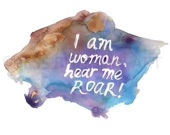 Lion Watercolor Painting Print, I am Woman Print, Lioness Painting, Lioness Art, Print of Animal, Feminist Art, Feminist Painting, Woman Art