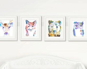 Blue Woodland Set of 4 Watercolor Prints, Nursery Art, Watercolor Nursery Prints, Animal Paintings, Animal Art, Print Set, Woodland Animals