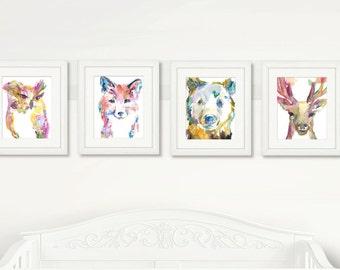 Pink Woodland Set of 4 Watercolor Prints, Nursery Art, Watercolor Nursery Prints, Animal Paintings, Animal Art, Print Set, Woodland Animals