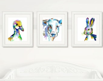 Farm Animals Set of 3 Watercolor Prints, Nursery Art, Watercolor Nursery Prints, Farm Animal Art, Farm Prints, Nursery Farm
