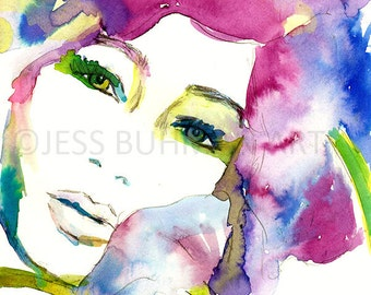 Print of Woman, Fashion Illustration, Floral Watercolor, Watercolor Flower, Floral Painting, Watercolor Woman, Fashion Painting, Fine Art