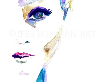Portrait of Woman Watercolor Print, Watercolor Portrait, Fashion Illustration, Watercolor Painting for Her, Watercolor Art, Watercolor Woman