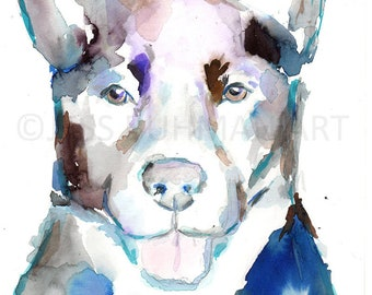 "Original Watercolor ""Ava"" by Jess Buhman, 9"" x 12"" Original Dog Painting on Cold Press Paper, Original Dog Art, Border Collie Painting"