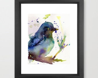 "Print of Watercolor Painting ""Leroy the Bird"" Original Watercolor Painting Blue Purple Turquoise"