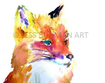 "Fox Watercolor Print | ""Foxy Brown"" by Jess Buhman, Print of Fox Painting, Fox Illustration, Abstract Fox Art, Baby Fox Art, Nursery Print"