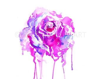 Rose Watercolor Print, Rose Painting, Rose Watercolor Painting Print, Flower Painting, Flower Print, Watercolor Flower, Pink Flower Art