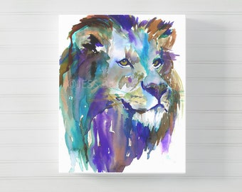 "Canvas Lion Art | ""The King"" by Jess Buhman, Multiple Sizes, Lion Print, Canvas Art, Zoo Animal, Nursery Animal Art"