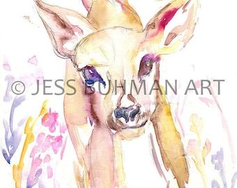 Deer Watercolor Print, Deer Painting, Deer Illustration, Nursery Art, Baby Deer Painting, Watercolor Deer, Watercolor Fawn