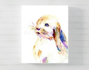 "Bunny Watercolor Canvas Print | ""Bunny"" by Jess Buhman, Multiple Sizes, Bunny Print, Print of Rabbit, Woodland Animal, Nursery Art"