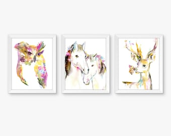 Pink and Gold Nursery Set of 3 Watercolor Prints, Nursery Art, Watercolor Nursery Prints, Woodland Art, Nursery Watercolor Prints, Horse Art