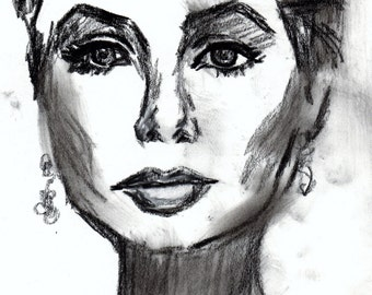 """On Sale """"Timeless Beauty"""" by Jessica Buhman, Print of Original Charcoal Drawing 8 x 10 Black and White Sketch Portrait"""