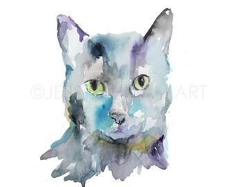 Cat Watercolor Painting Print, Black Cat Painting, Cat Watercolor, Cat Illustration, Print of Cat, Pet Painting, Animal Watercolor