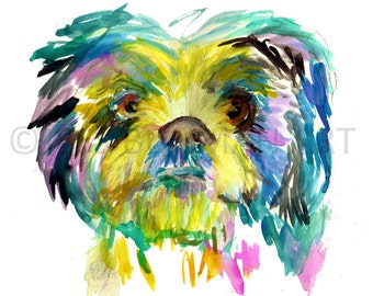 "Print of Watercolor Painting ""Bonzai the Dog"" 8 x 10 Original Watercolor Painting Pink Fuschia Orange Yellow Tan Brown"