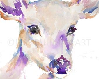 April Deer Watercolor Painting Print, Deer Watercolor Painting, Flowers Watercolor, Deer Painting, Nursery Art, Nursery Watercolor